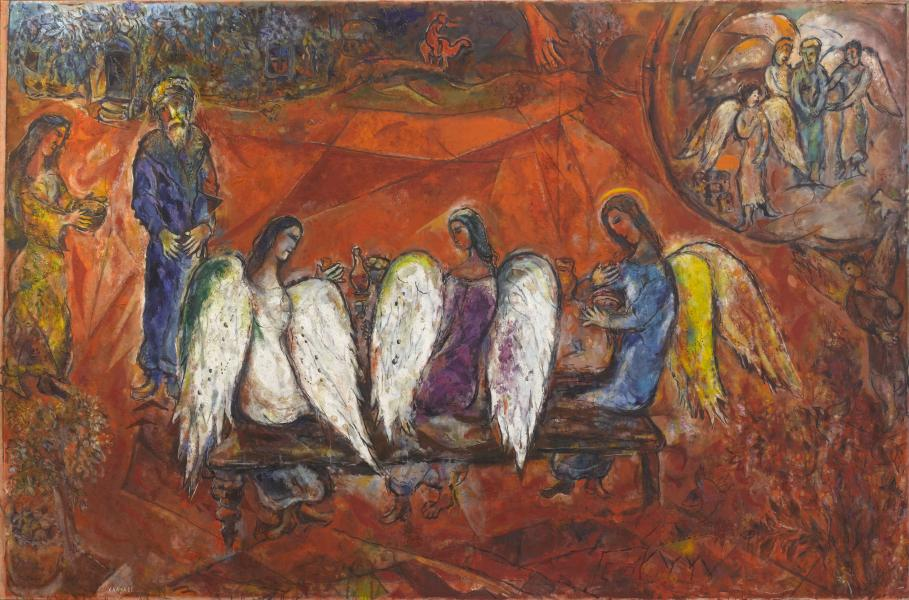 Abraham and the Three Angels by Marc Chagall