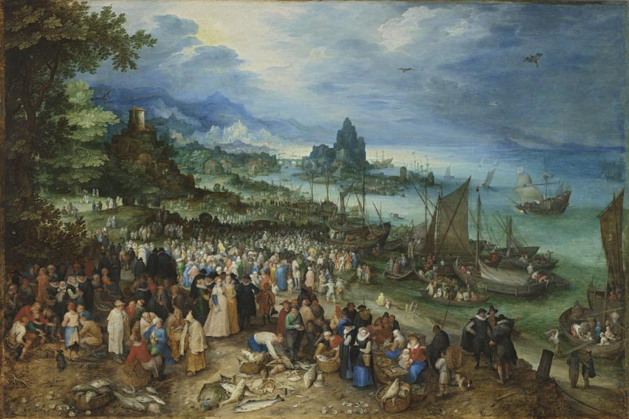 Seaport with the Sermon of Christ (Harbour Scene with Christ Preaching) by Jan Brueghel the Elder