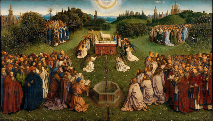 The Ghent Altarpiece (Adoration of the Mystic Lamb) by Hubert van Eyck and Jan van Eyck