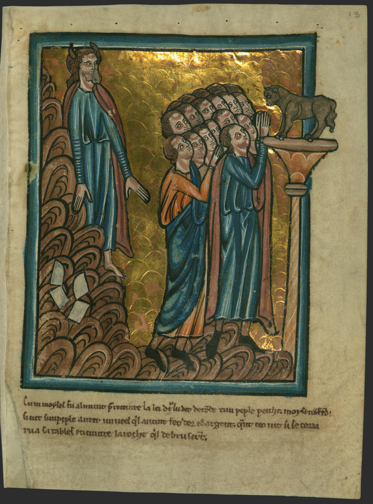 The Israelites Worship the Golden Calf and Moses Breaks the Tablets by William de Brailes