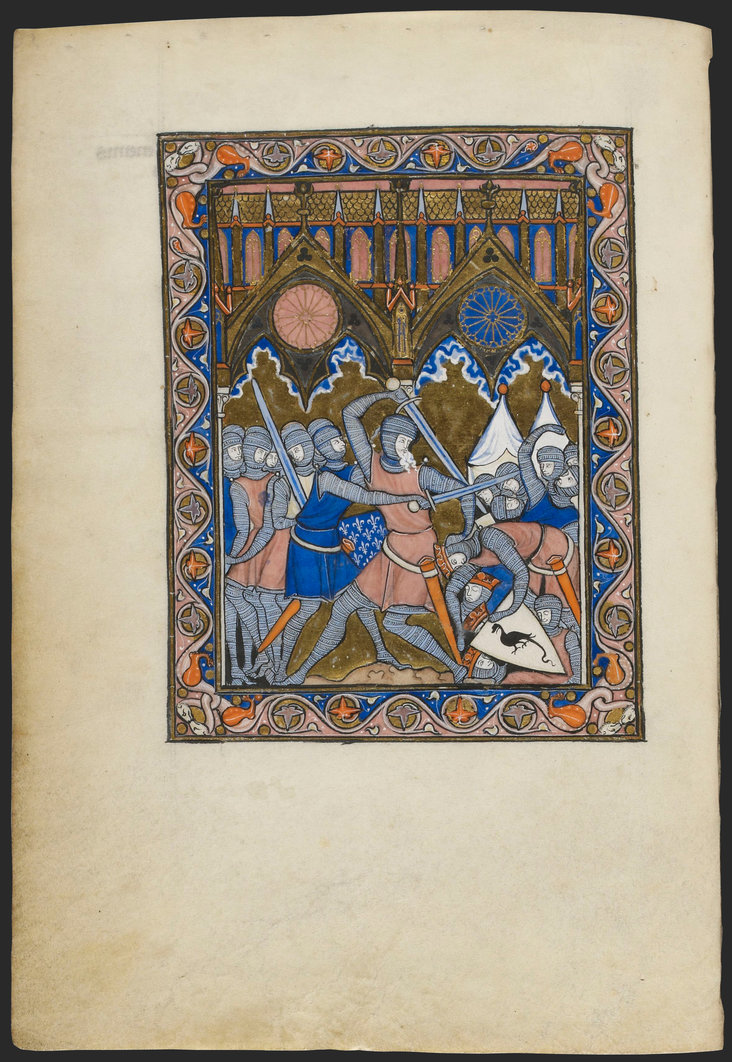 The Victory of Abraham over the Four Kings from Psautier dit de saint Louis by Master of Abraham