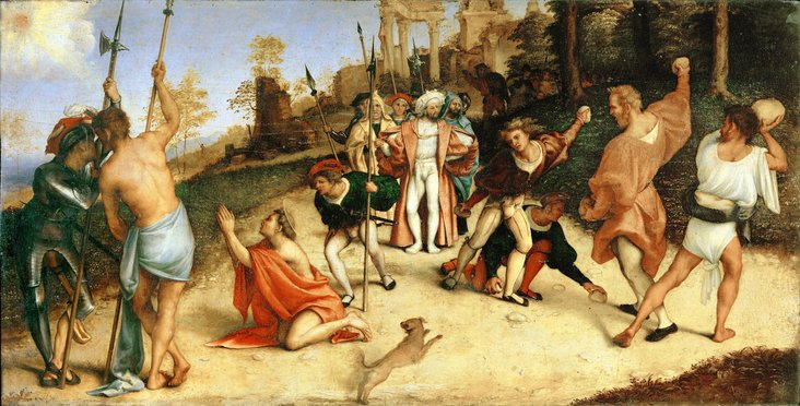 Stoning of Saint Stephen (predella of the Martinengo Altarpiece) by Lorenzo Lotto