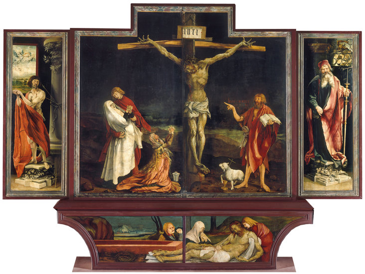 The Isenheim Altarpiece; Closed altarpiece: Saint Sebastian, the Crucifixion; Saint Anthony the Great; Predella, the Lamentation on the Body of Christ by Matthias Grünewald