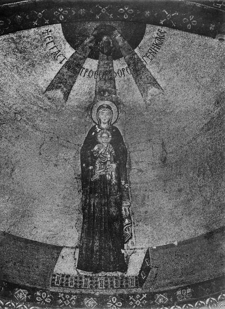The Virgin and Child, destroyed apse mosaic from The Church of the Dormition, Nicaea by Unknown Byzantine artist