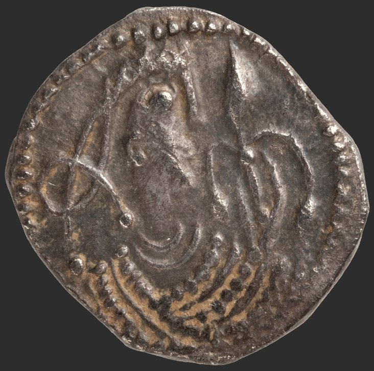 English silver penny, Obverse: knot bust, with hand holding sprigby Unknown Anglo-Saxon artist
