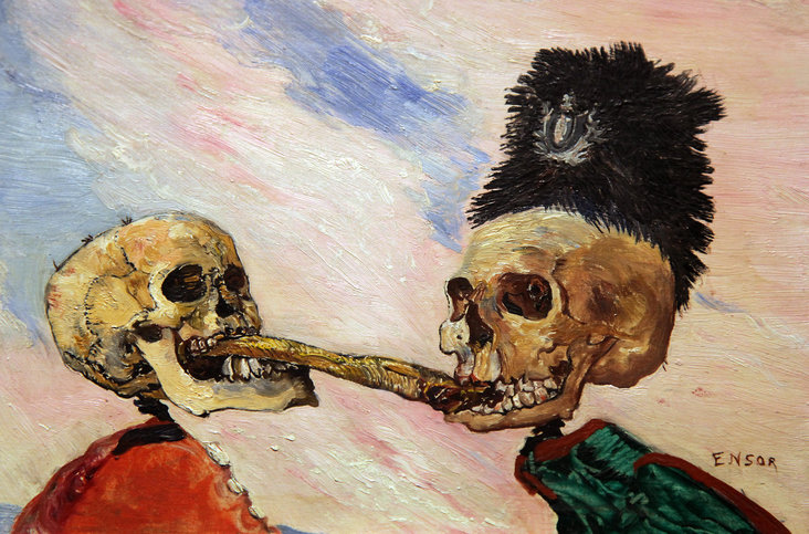 Skeletons Fighting over a Pickled Herring (Squelettes se disputant un hareng-saur) by James Ensor