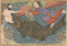 Jonah and the Whale, folio from a Jami al-Tavarikh (Compendium of Chronicles) by Unknown Iranian artist