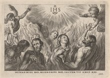 Purgatory; print after the lower part of the painting by Peter Paul Rubens 'St Teresa of Avila interceding for Bernardino de Mendoza' by Cornelis Galle I