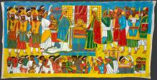 Scene of the meeting of Solomon and the Queen of Sheba, surrounded by their respective attendants by Qes Adamu Tesfaw