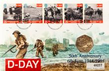 Great Britain 50p D-Day Coin First Day Cover (6th June 1994) to commemorate the Fiftieth Anniversary of D-Day by John W. Mills and the British Army Film and Photographic Unit