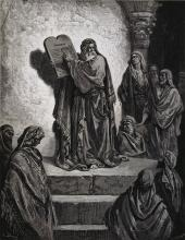 Ezra Shows the Ten Commandments on Tablets, from Doré Bible by Gustave Doré