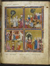 Joseph and Potiphar's Wife and Scenes from the life of Joseph, from the Golden Haggadah by Unknown artist