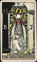 High Priestess from the series of 22 Major Arcana, popularly known as the Waite pack by Pamela Colman Smith