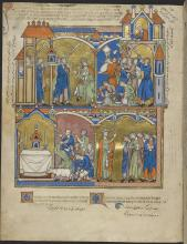 David's Greatest Triumph, The Ark Enshrined in Jerusalem, David Blesses Israel, from The Crusader Bible (The Morgan Picture Bible) by Unknown French artist [Paris]