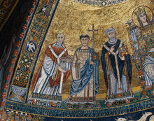 Innocent II, Saint Lawrence, and Saint Callixtus (Apse mosaic detail from Church of Santa Maria in Trastevere) by Unknown Italian artist
